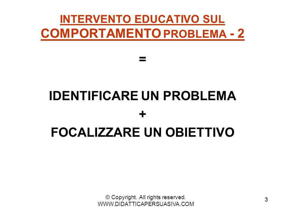 4 INTERVENTO EDUCATIVO SUL COMPORTAMENTO PROBLEMA - 3 Scrivere tutti i comportamenti problematici del bambino ___________________________________ © Copyright.