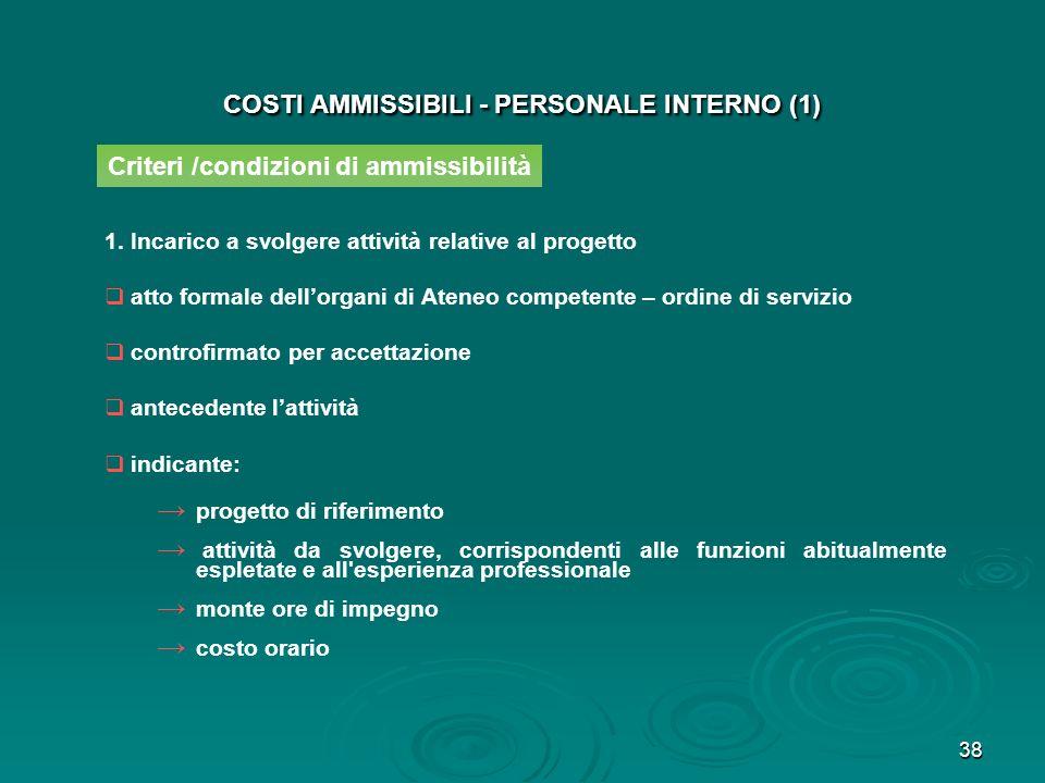 39 COSTI AMMISSIBILI - PERSONALE INTERNO (2) Criteri /condizioni di ammissibilità 2.