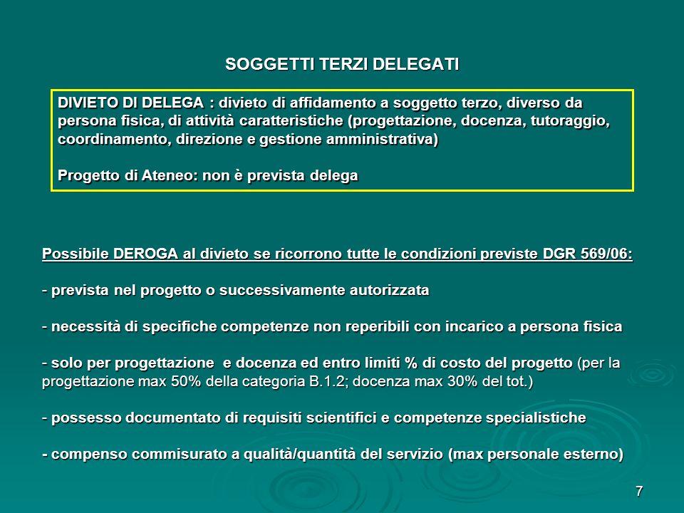 8 SOGGETTI TERZI FORNITORI DI BENI E SERVIZI DI SUPPORTO DEROGA allobbligo se ricorre 1 dei casi previsti dalla DGR 569/06, es: - acquisti inferiori a 500 (N.B.divieto di frazionamento dellacquisto) - acquisti inferiori a 500 (N.B.divieto di frazionamento dellacquisto) - comprovata limpossibilità di acquisizione (es.