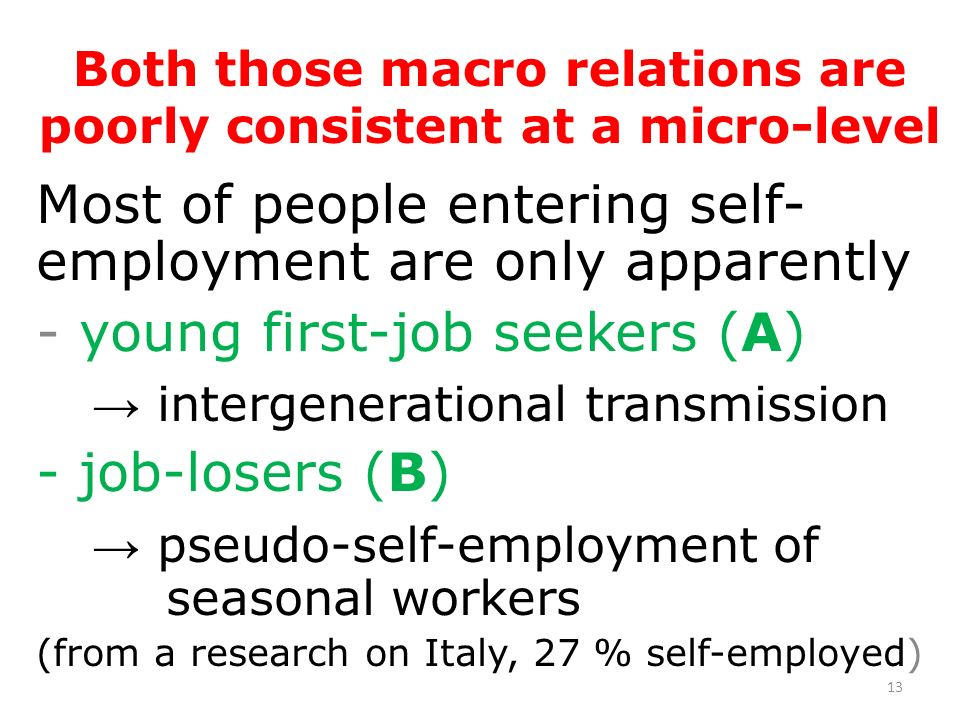 14 Who self-employed really are - prime age men, - skilled and professional workers, - long work experience as employees, - well-endowed with social capital, attained working in small firms, - committed to individualistic mobilization Cross-national variation in % self-em.