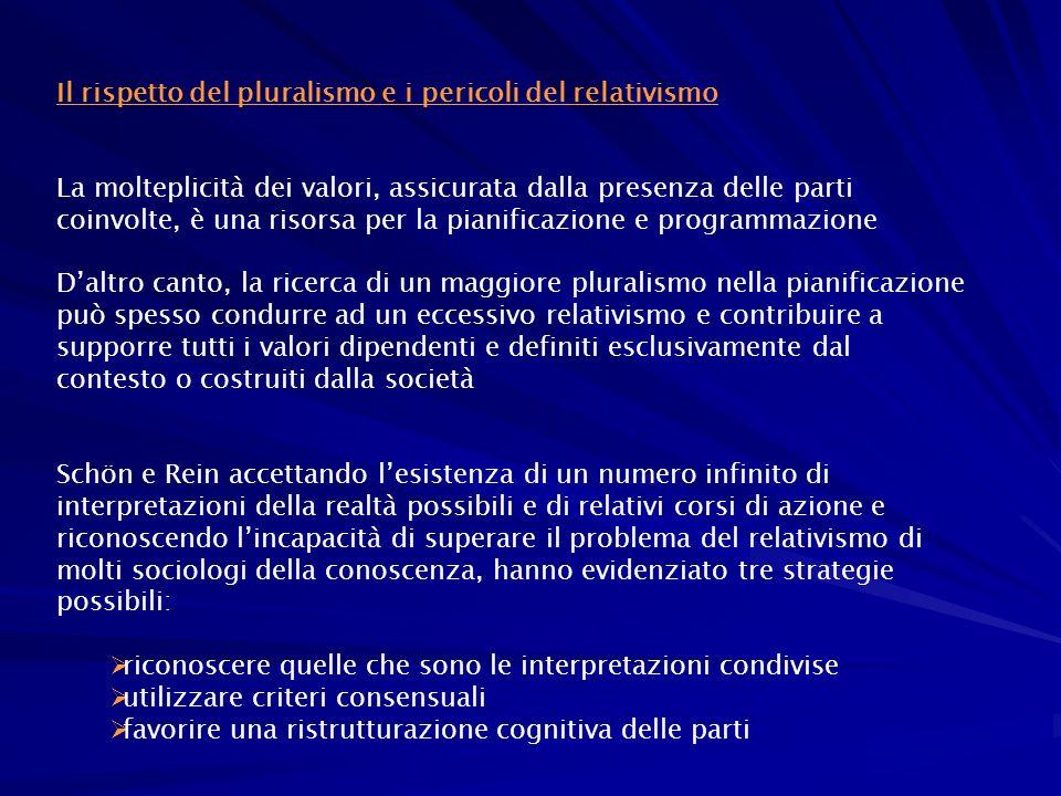 Criteri consensuali Ma per i promotori del pluralismo la nozione di consenso è una nozione che mal si adatta a un modello di comunità pluralistico Vi sono almeno tre motivi per supportare questa affermazione: 1.Se si assume lesistenza di valori plurali allora si deve ammettere che il consenso non è facilmente raggiungibile 2.Il consenso non rappresenta lobiettivo di una pianificazione o programmazione che dovrebbe tendere a riflette più punti di vista 3.Il consenso potrebbe non essere il requisito essenziale per una migliore e più sostenibile programmazione/pianificazione
