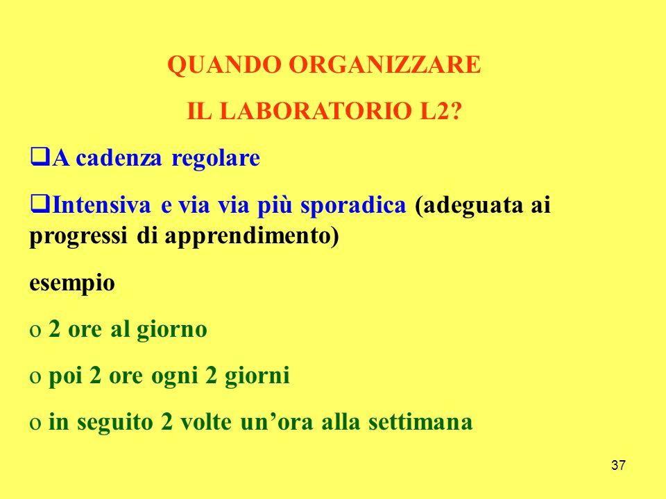 38 COME ORGANIZZARE IL LABORATORIO L2.Con attività individuali ma soprattutto di gruppo.