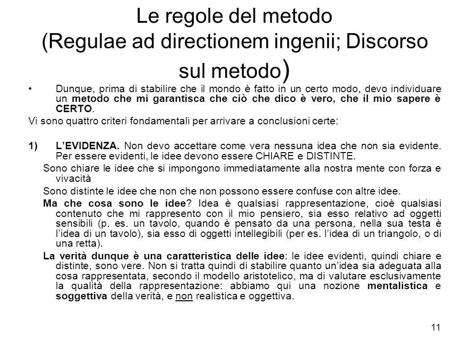 Le regole del metodo (2) 2) Analisi: per giungere allevidenza, bisogna scomporre il problema nei suoi elementi semplici (per es.