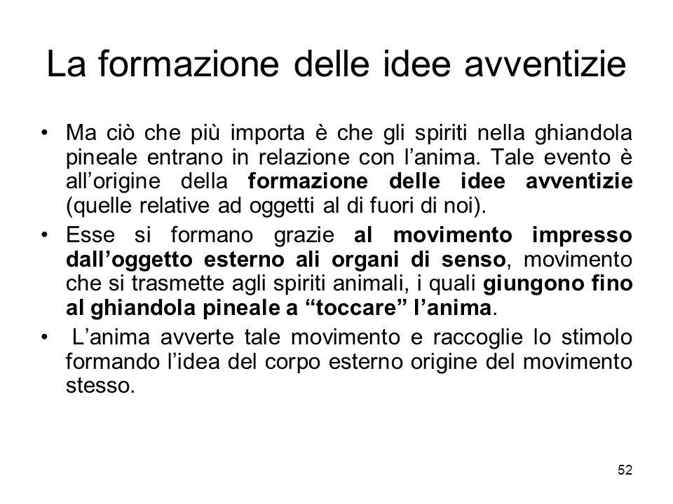 Fallacia delle idee avventizie Le idee avventizie non sono però garantite nella loro veridicità, anzi.