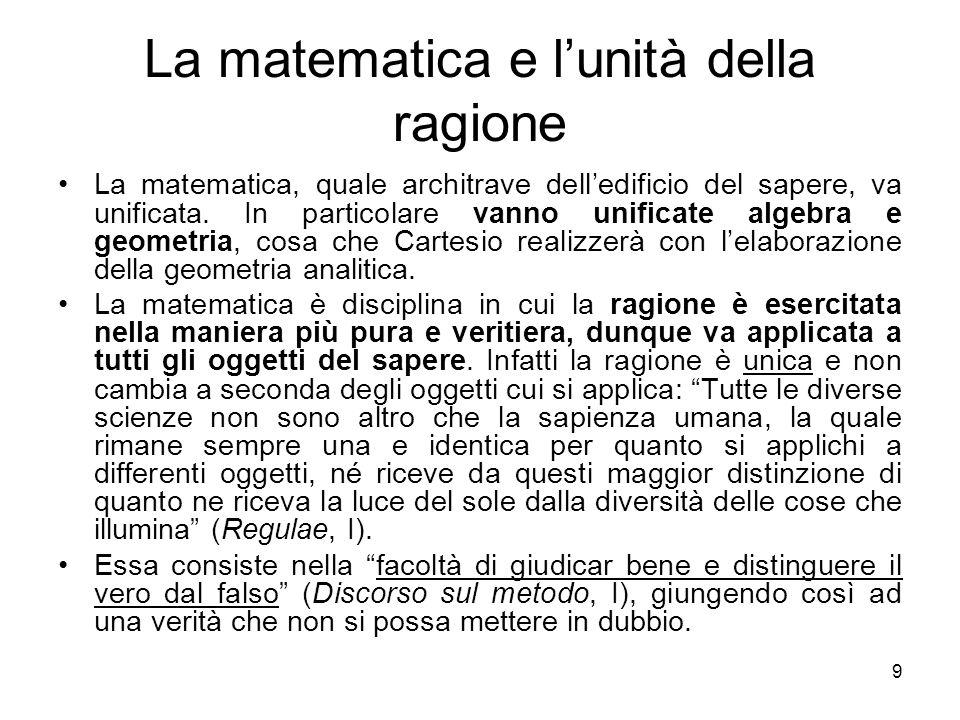 Mathesis universalis Attraverso la matematica si deve dunque costruire una scienza generale delle proposizioni e degli oggetti misurabili, ossia unamathesis universalis.