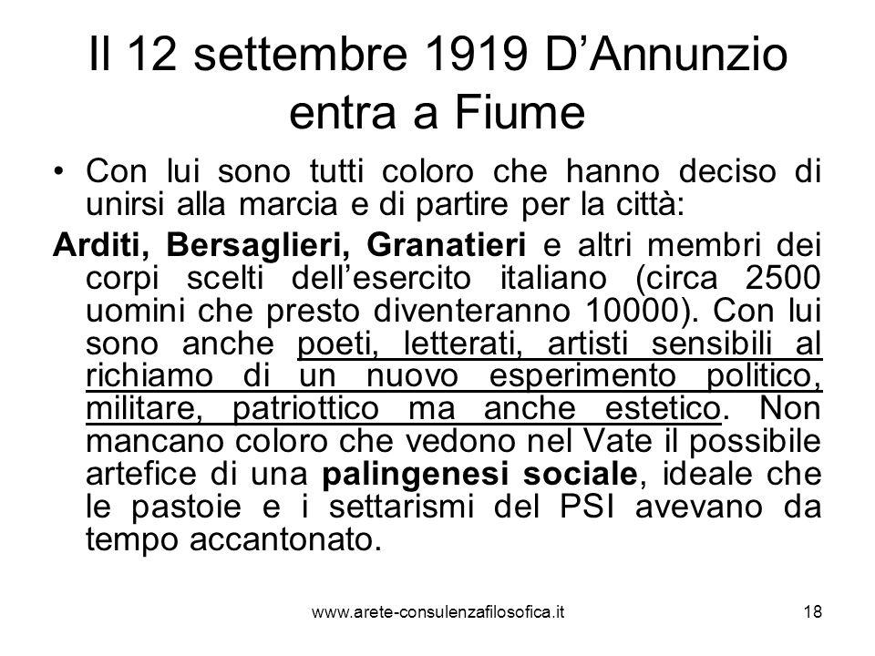 Il plebiscito dellottobre 1919 Un plebiscito conferma che i cittadini fiumani vogliono essere italiani e che la loro guida deve essere il Comandante: 7013 voti favorevoli al Vate su 7154 votanti.
