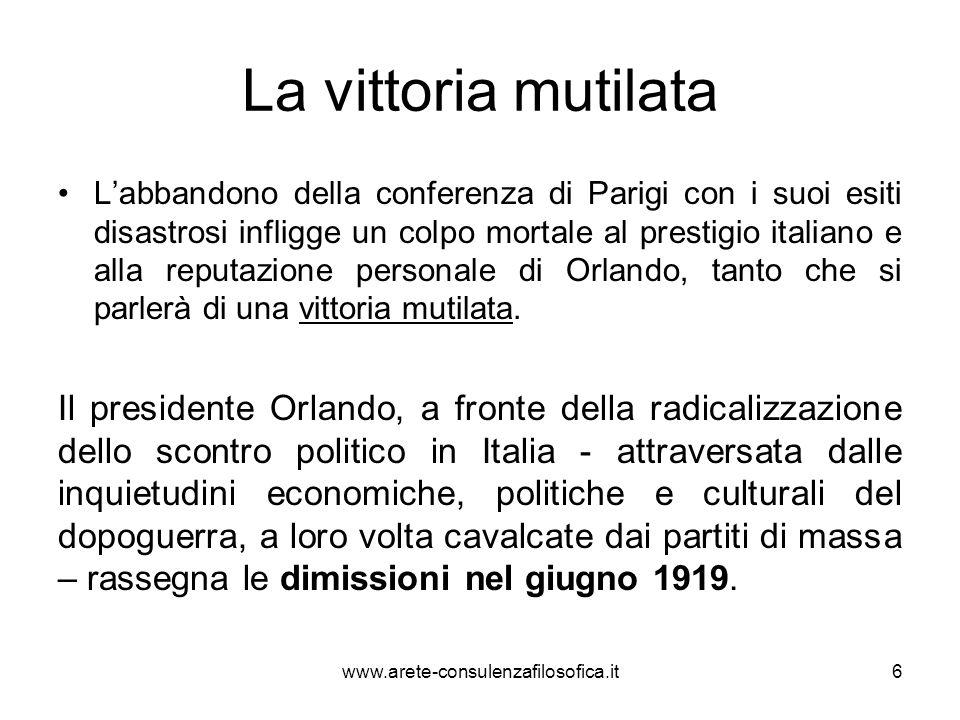 NITTI Sale al governo Francesco Saverio Nitti, insigne intellettuale, ma privo di vera capacità e fermezza decisionale, a guida di un gabinetto di centro, con lappoggio dei cattolici del PPI.