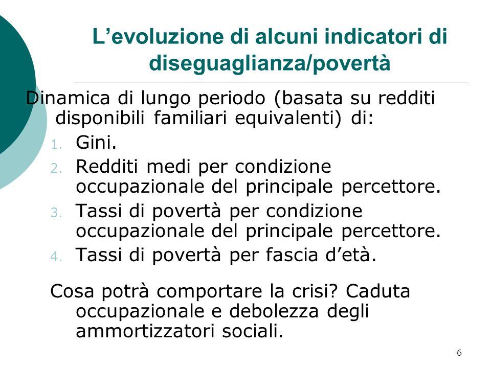 7 Levoluzione del Gini in Italia Fonte: stime di Brandolini su dati IBFI; ponderazione per famiglia per i redditi non corretti; ponderazione per individuo e scala di equivalenza dellOCSE modificata per i redditi equivalenti.