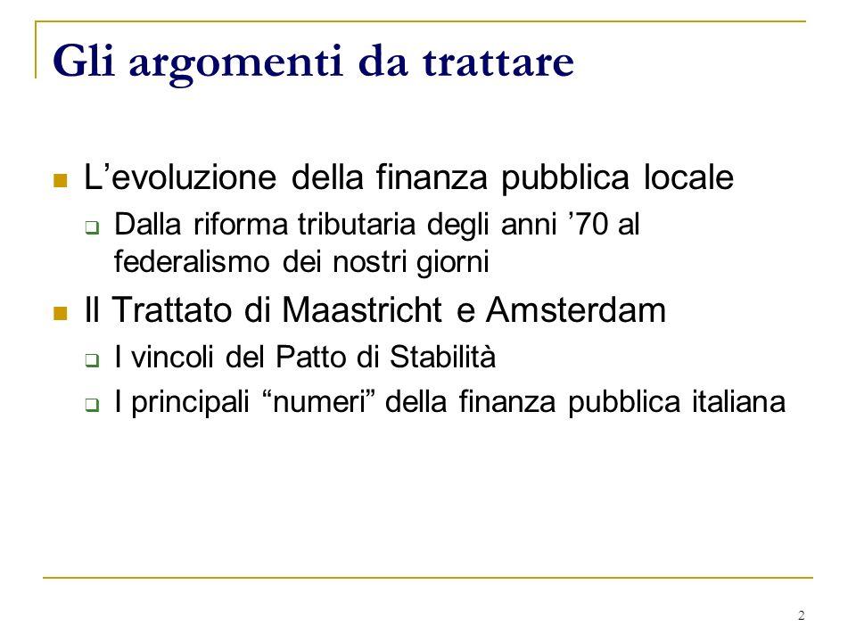 3 Levoluzione della finanza pubblica locale 19701977 - Riforma tributaria - Istituzione delle regioni 1981 Decreti Stammati 1.
