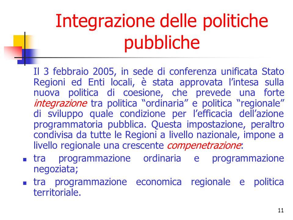 12 …Segue: Integrazione delle politiche pubbliche Dallinsieme dei documenti programmatici di riferimento si evince come Selettività Integrazione Territorializzazione sono parte di un unico disegno programmatorio.