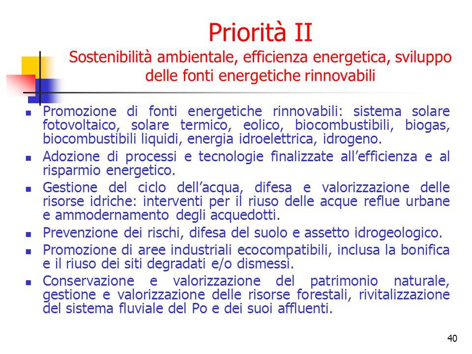 41 Priorità III Riqualificazione territoriale Progetti di trasformazione urbana: infrastrutturazione, recupero ambientale.