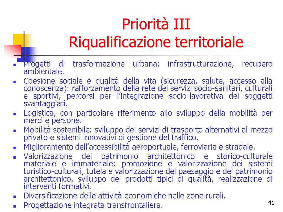 42 Priorità IV Valorizzazione delle risorse umane Promozione del sistema della formazione permanente per gli adulti, allargando le opportunità per le iniziative individuali.