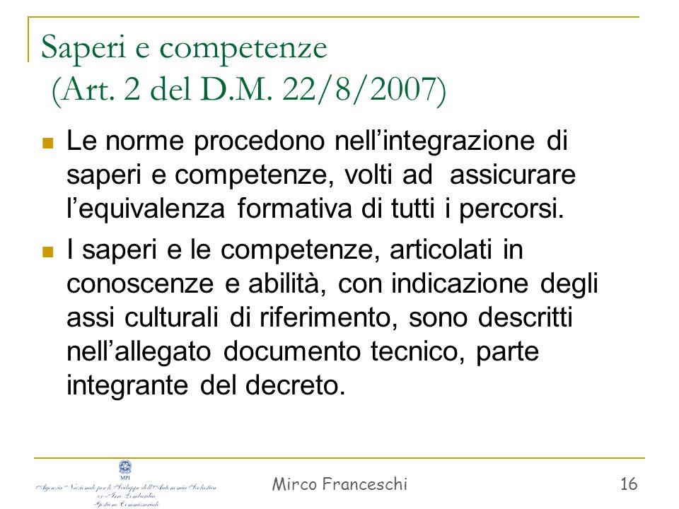 Mirco Franceschi 17 Attuazione Per recepire saperi e competenze, le scuole possono usare forme di flessibilità (Art.
