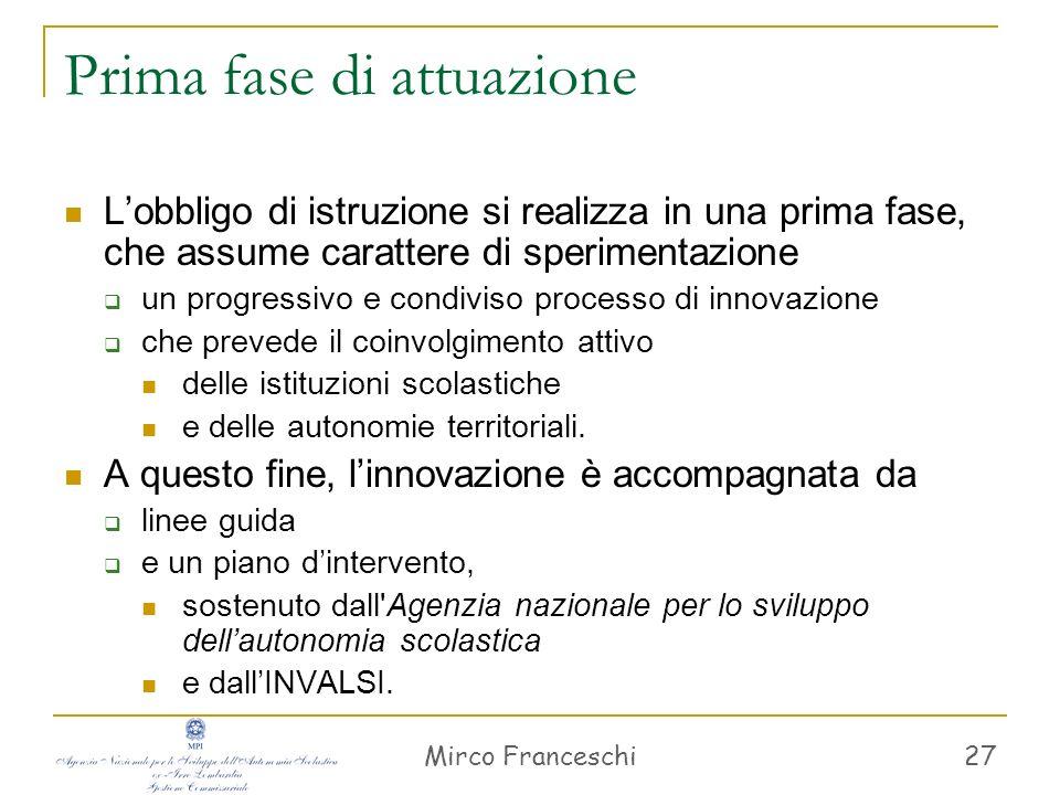 Mirco Franceschi 28 Le linee guida riguardano: l orientamento di giovani e famiglie la formazione dei docenti i percorsi sperimentali, per: sostegno monitoraggio valutazione certificazione