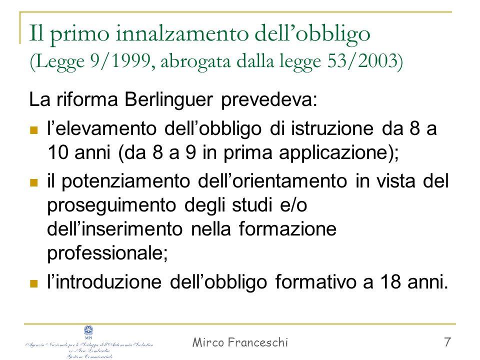 Mirco Franceschi 8 Sistema di istruzione e di formazione (Art.