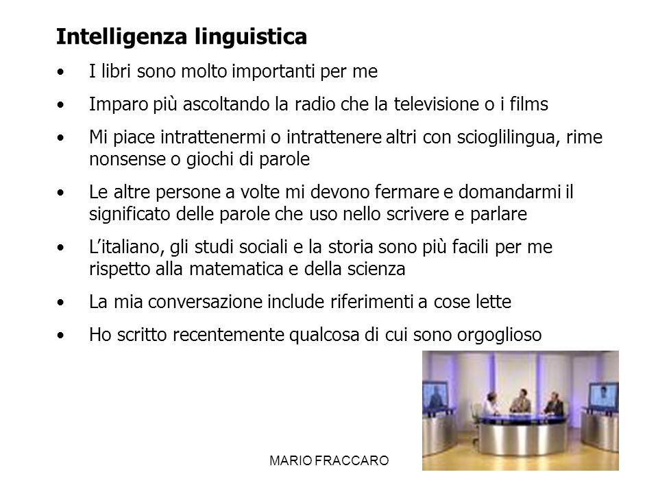 MARIO FRACCARO17 Intelligenza musicale Ho una piacevole voce quando canto Frequentemente ascolto musica alla radio, cd etc.