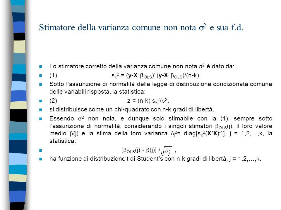 Stimatore della varianza comune non nota 2 nel caso di modello nullo n Nel caso di modello nullo (in assenza di dipendenza delle variabili risposta dalle covariate (regressori o variabili indipendenti)), posto m = y1 n /n, lo stimatore della varianza comune non nota 2 è dato da: n s 0 2 =(y-m1 n )(y-m1 n )/(n-1).