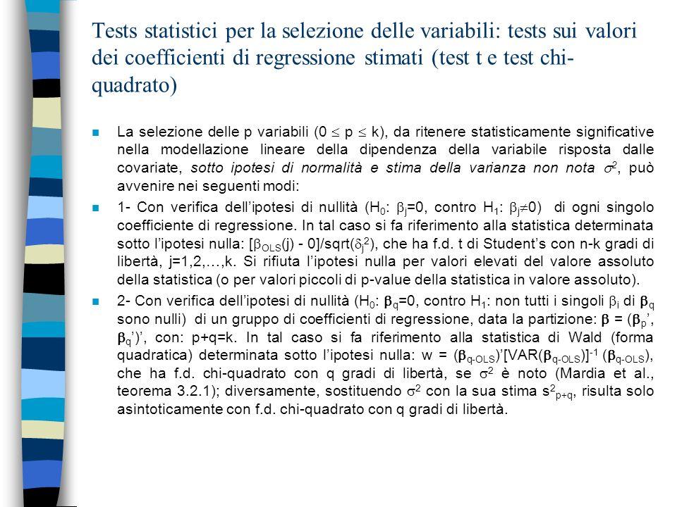 Test sulla variazione della somma dei residui al quadrato: Il test F n 3- Considerato un modello lineare con un numero fissato di variabili già accettate (ritenute statisticamente significative) x p (1 p k) (modello ridotto), si tratta di verificare lipotesi di decremento non significativo (ipotesi nulla) della somma dei residui al quadrato (RSS: Residual Sum of Squares) conseguente allinserimento aggiuntivo di una o più ulteriori variabili esplicative (ulteriori covariate) x q (1 q k-p) (modello esteso).