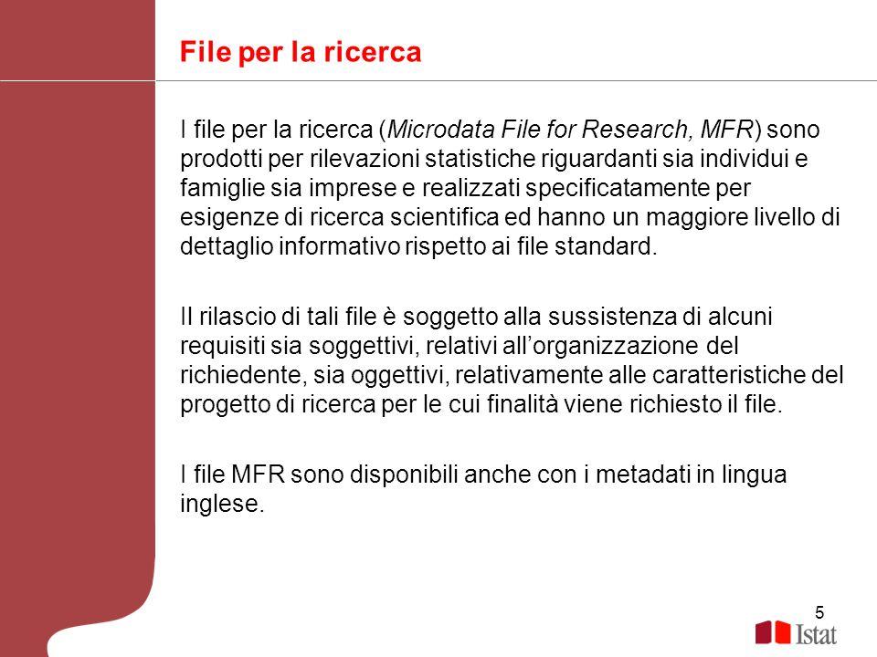 6 Disponibilità di metadati sul sito Istat Prima della predisposizione della richiesta per un file MFR o file Standard, gli utenti hanno la possibilità di consultare i metadati relativi sul sito dellIstat Per i file MFR è disponibile anche la versione in inglese dei metadati ed un file di microdati di esempio.