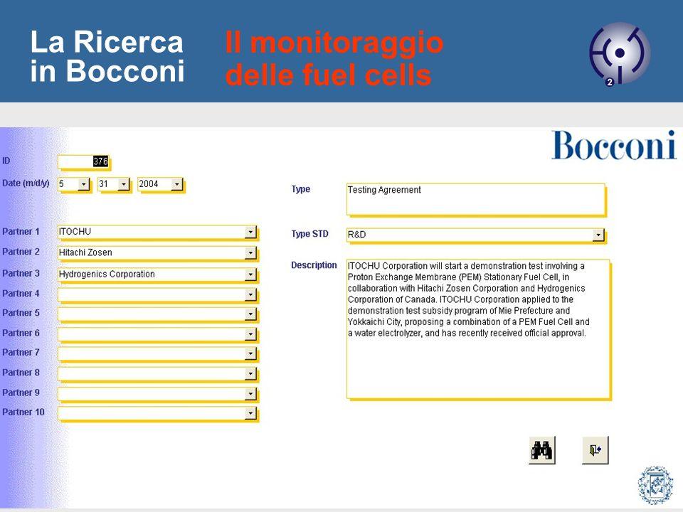 12 La Ricerca in Bocconi Il monitoraggio delle fuel cells