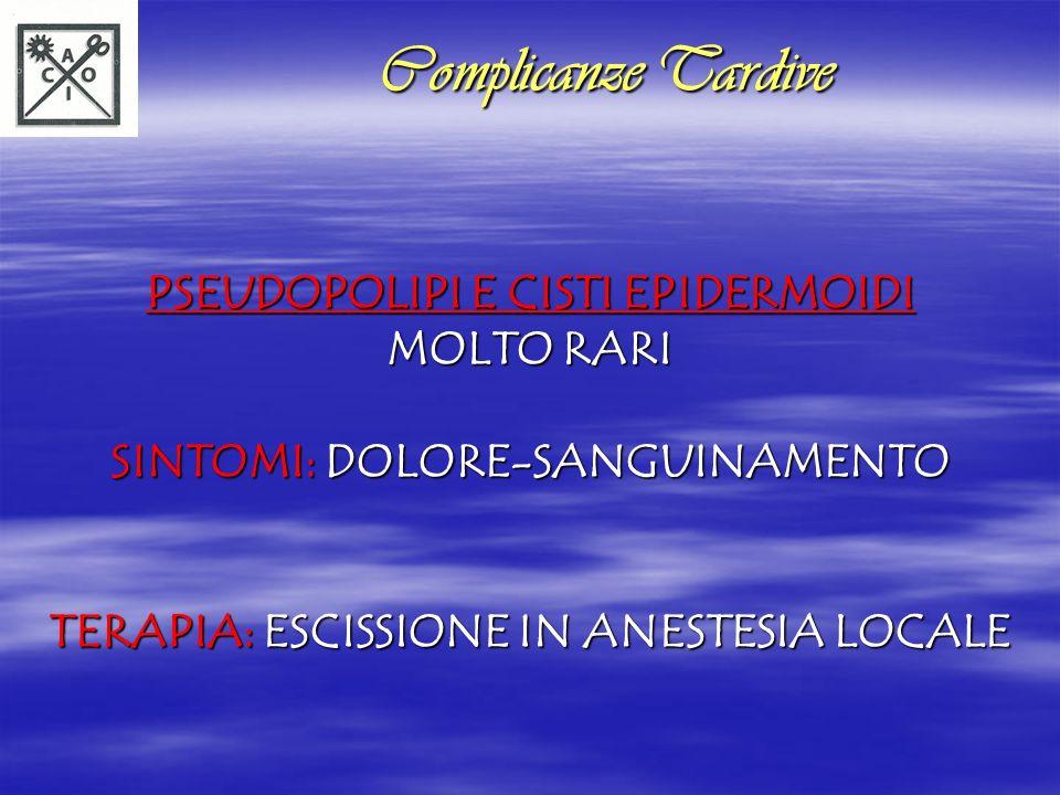PROLASSO MUCOSO SINTOMI: DEFECAZIONE OSTRUITA-TENESMO- SANGUINAMENTO-INCONTINENZA-MUCORREA- DERMATITE PERIANALE-PRURITO DIAGNOSI: PONZAMENTO DURANTE PROCTOSCOPIA TERAPIA: IN RELAZIONE ALLENTITA DEL PROLASSO (LEGATURE ELASTICHE-SCLEROTERAPIA-PROLASSECTOMIA CON SUTURATRICE MECCANICA CIRCOLARE) Complicanze Tardive