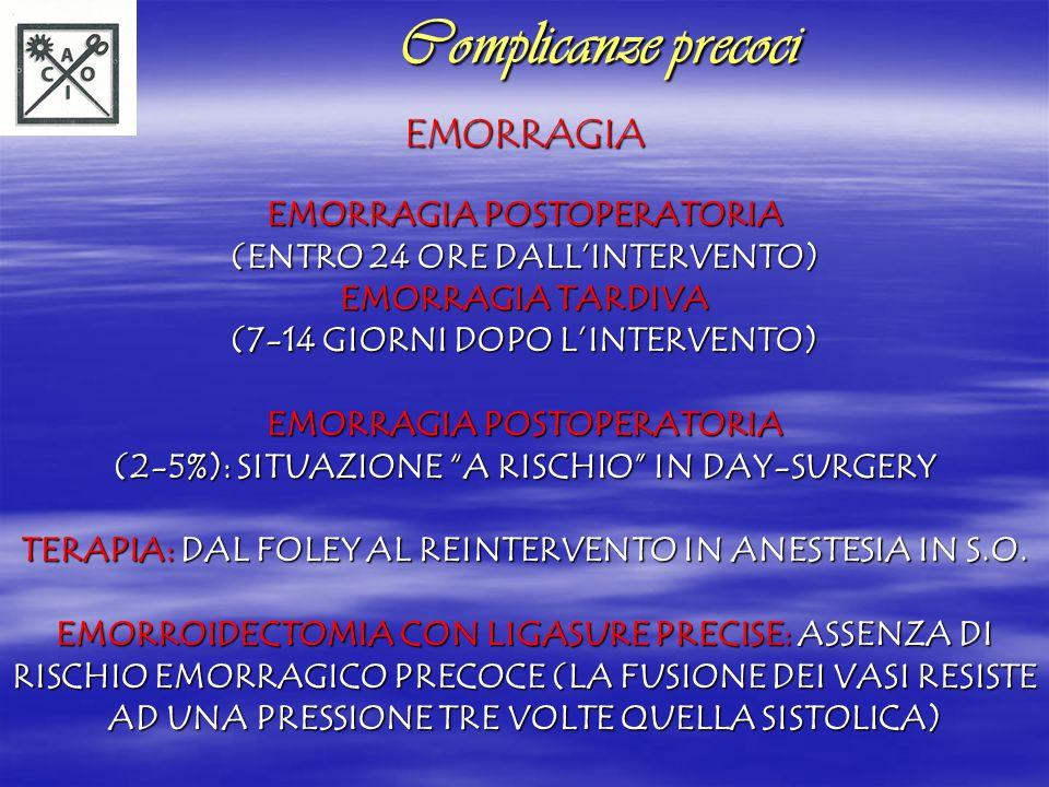 INFEZIONE INFEZIONE COMPLICANZE INFETTIVE (CELLULITE-ASCESSI): SCARSE INFEZIONI GRAVI (ASCESSO EPATICO-GANGRENA DI FOURNIER): RARISSIME PREVENZIONE: ANTIBIOTICOPROFILASSI (METRONIDAZOLO) Complicanze precoci