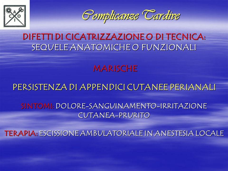RAGADE ANALE RAGADE ANALE INADEGUATA CICATRIZZAZIONE: RAGADE ANALE COMMISSURA POSTERIORE (PIU FREQUENTE) TERAPIA CONSERVATIVA: NORME IGIENICO-DIETETICHE DILATATORI ANALI TERAPIA CHIRURGICA (SE IPERTONO SFINTERIALE+SUBSTENOSI ANALE): S.L.I.+PLASTICA ANALE TRASVERSALE Complicanze Tardive