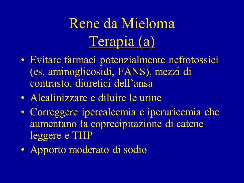 Rene da Mieloma Terapia (b) Il classico trattamento con melfalan e prednisone (introdotto da Alexian 30 anni fa) è ancora indicato in pazienti sintomatici di recente diagnosi.