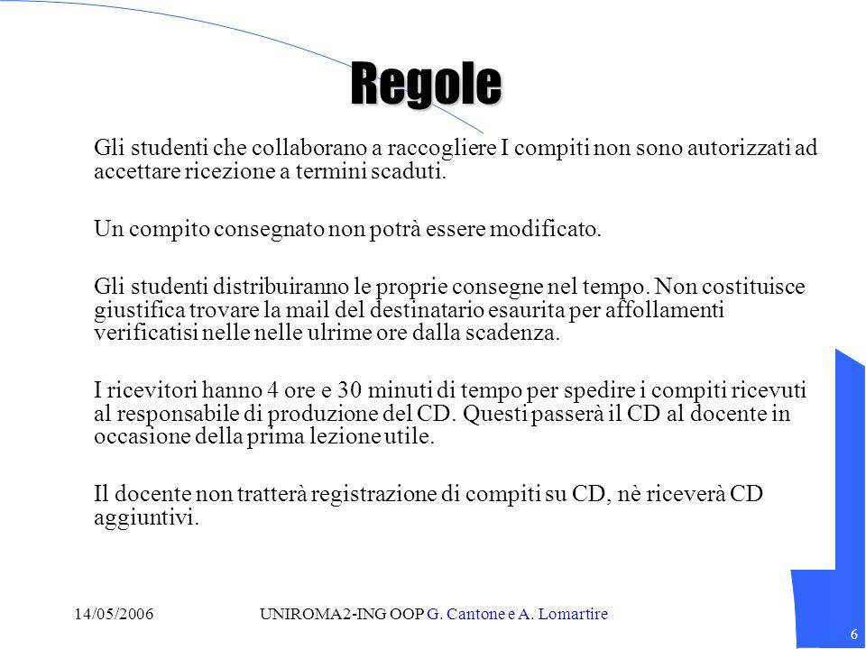 7 14/05/2006UNIROMA2-ING OOP G.Cantone e A. Lomartire Avviso I compiti costituiscono prove.