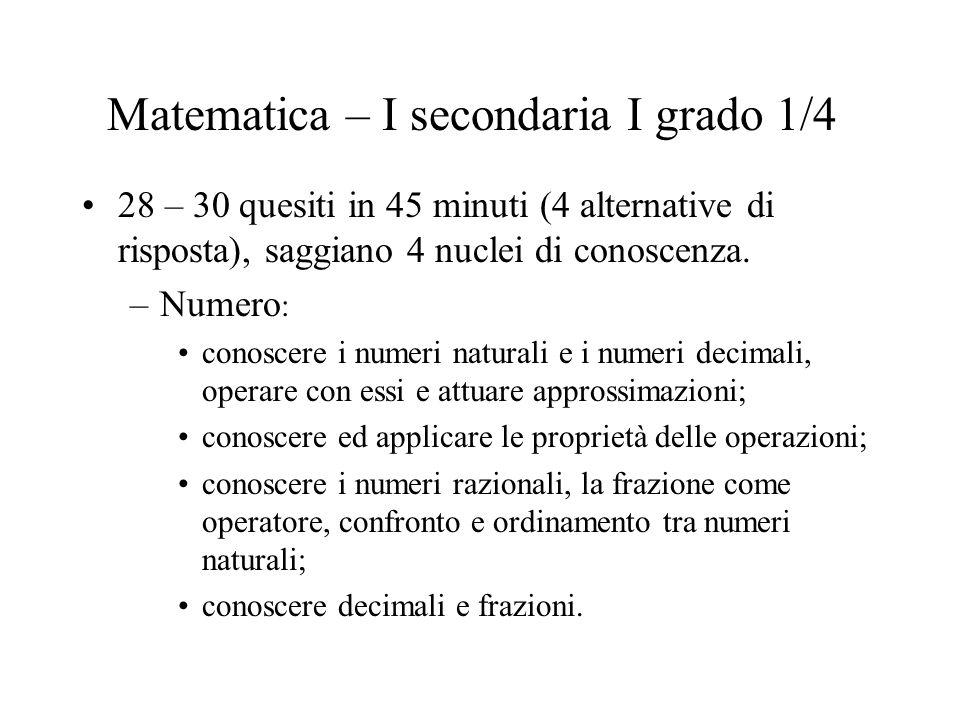 Matematica – I secondaria I grado 2/4 –Geometria: riconoscere, denominare e descrivere figure geometriche; conoscere le proprietà delle figure geometriche piane; individuare simmetrie in oggetti e figure; calcolare aree e perimetri di figure geometriche conosciute.