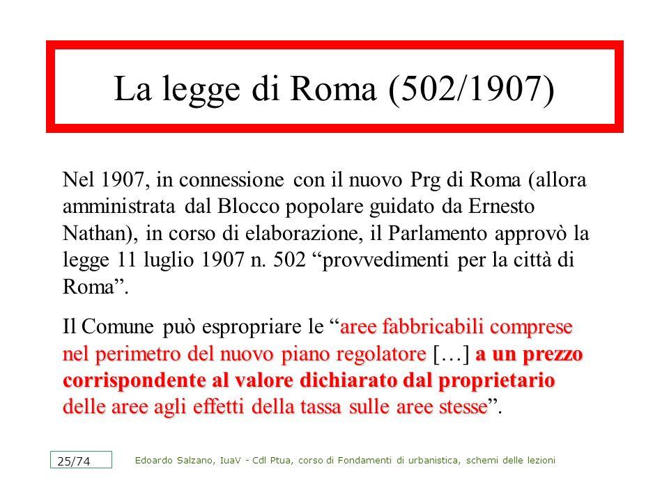 Edoardo Salzano, IuaV - Cdl Ptua, corso di Fondamenti di urbanistica, schemi delle lezioni 26/74 Lesproprio nella 1150/1942.