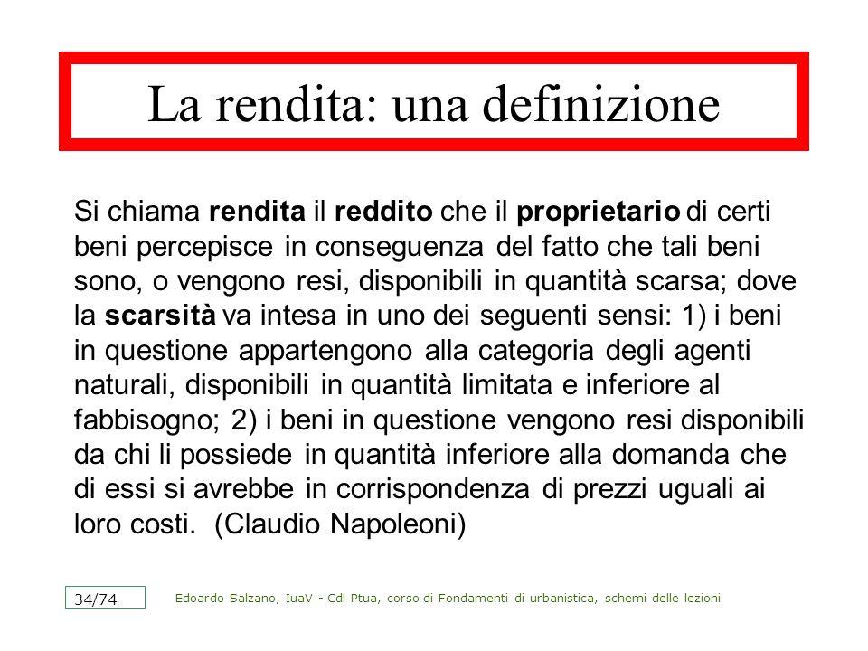Edoardo Salzano, IuaV - Cdl Ptua, corso di Fondamenti di urbanistica, schemi delle lezioni 35/74 La rendita fondiaria La rendita fondiaria è la forma classica della rendita.