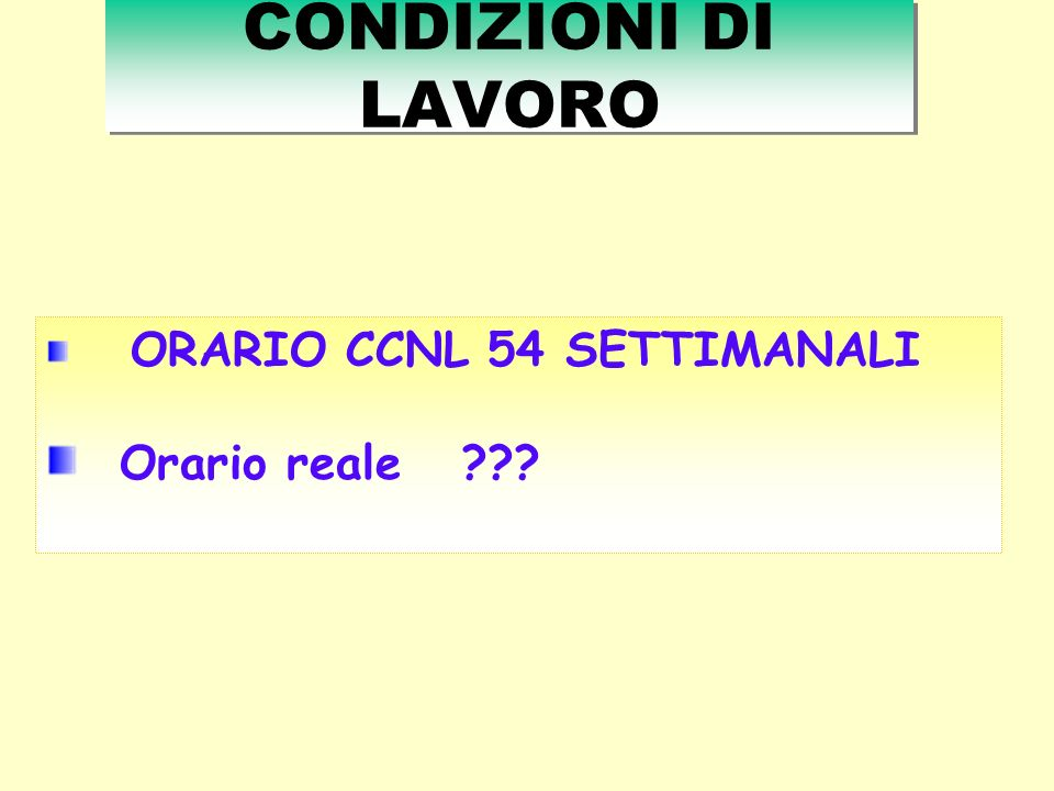 CONDIZIONI DI LAVORO ORARIO CCNL 54 SETTIMANALI Orario reale ???