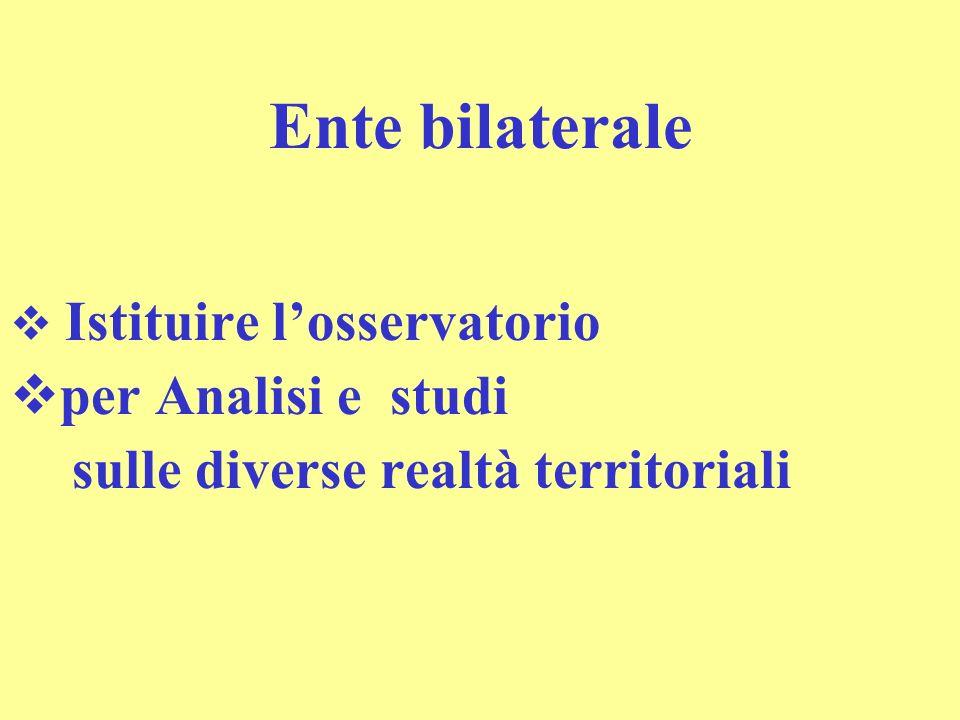 Ente bilaterale Istituire losservatorio per Analisi e studi sulle diverse realtà territoriali