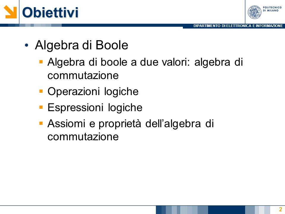 DIPARTIMENTO DI ELETTRONICA E INFORMAZIONE 3 Lalgebra di Boole (inventata da G.