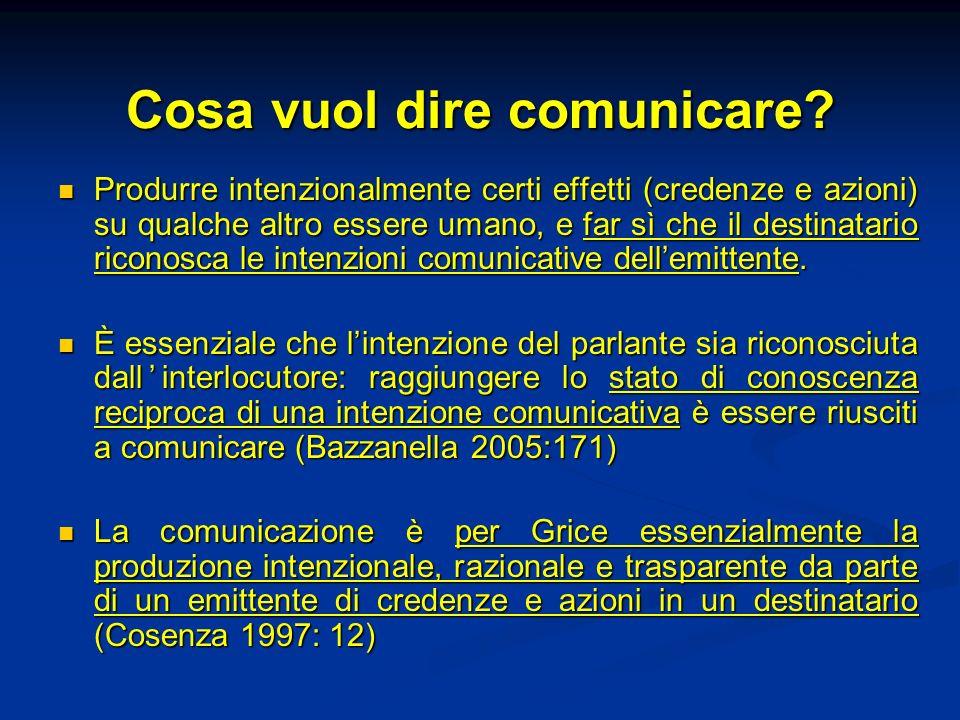 Logica della conversazione (Grice, Logic and conversation, 1967) Parlante A Ascoltatore B Intenzione riflessiva Comprensione: riconoscimento delle intenzioni di A