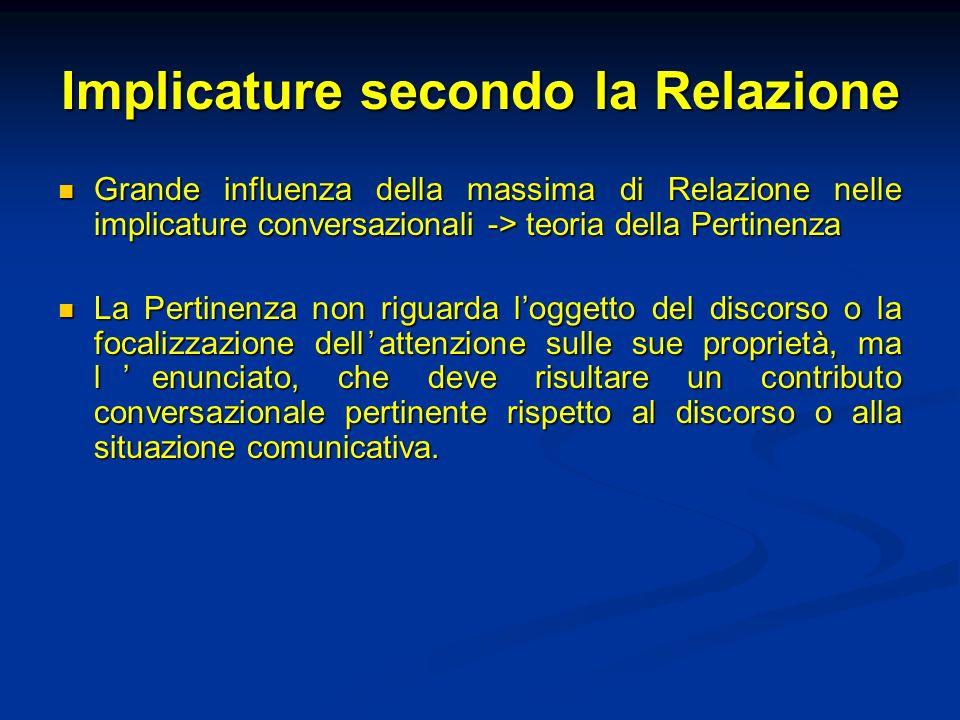 Relazione e pertinenza Sperber e Wilson (Relevance.