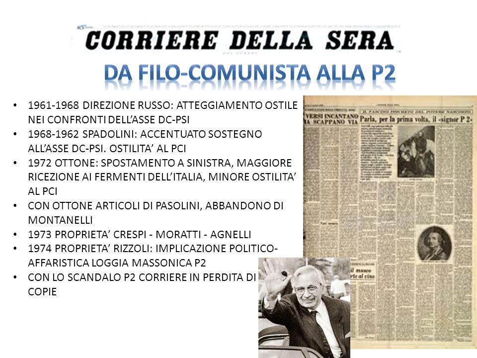 1974 DIRETTORE INDRO MONDANELLI CAPITALI GARANTITI DALLA MONTEDISON, POI DE AGOSTINI E BERLUSCONI LINEA ANTICOMUNISTA ANTI-CORRIERE DI DESTRA 1976 DIRETTORE EUGENIO SCALFARI PROPRIETA CARACCIOLO – SCALFARI – MONDADORI FORMATO BERLINER GIORNALISMO PROGRESSISTA, APPOGGIO A DE MITA E BERLINGUER TAGLIO NARRATIVO, TITOLI GRIDATI SORPASSO DEL CORRIERE CON LO SCANDALO P2
