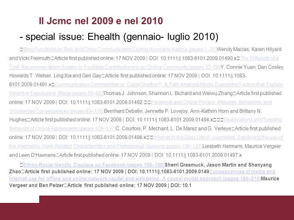 Il JCMC nel 2011 e nel 2012 Alcuni temi: - mondi virtuali - SNS - mobile geotagging - selective posting - uso dell email nelle comunicazioni docente/studente, - - strategie di comunicazione e pratiche partecipative - - blogging - - Self-presentation negli ambienti online - - Informazione online (e relativa credibilità) - - ecc.