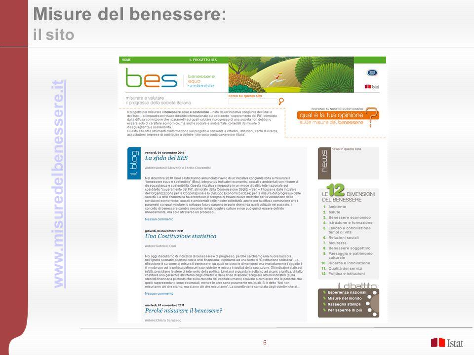 7 La consultazione (1): Il questionario e il blog Importanza di misurare il benessere Valutazione delle 12 dimensioni Specificità italiane Utilizzo finale dello strumento Discussione più approfondita sugli aspetti rilevanti del problema.