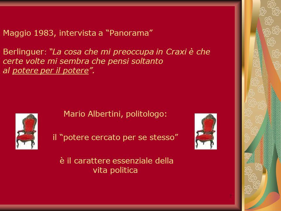 8 27 Aprile 1983 Il potere è uno strumento insufficiente ma necessario per realizzare gli ideali in cui credo io e in cui credono i miei compagni