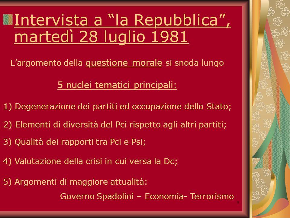 10 19 dicembre 1981 Commistione tra funzioni di partito e funzioni statali Degenerazione dei partiti