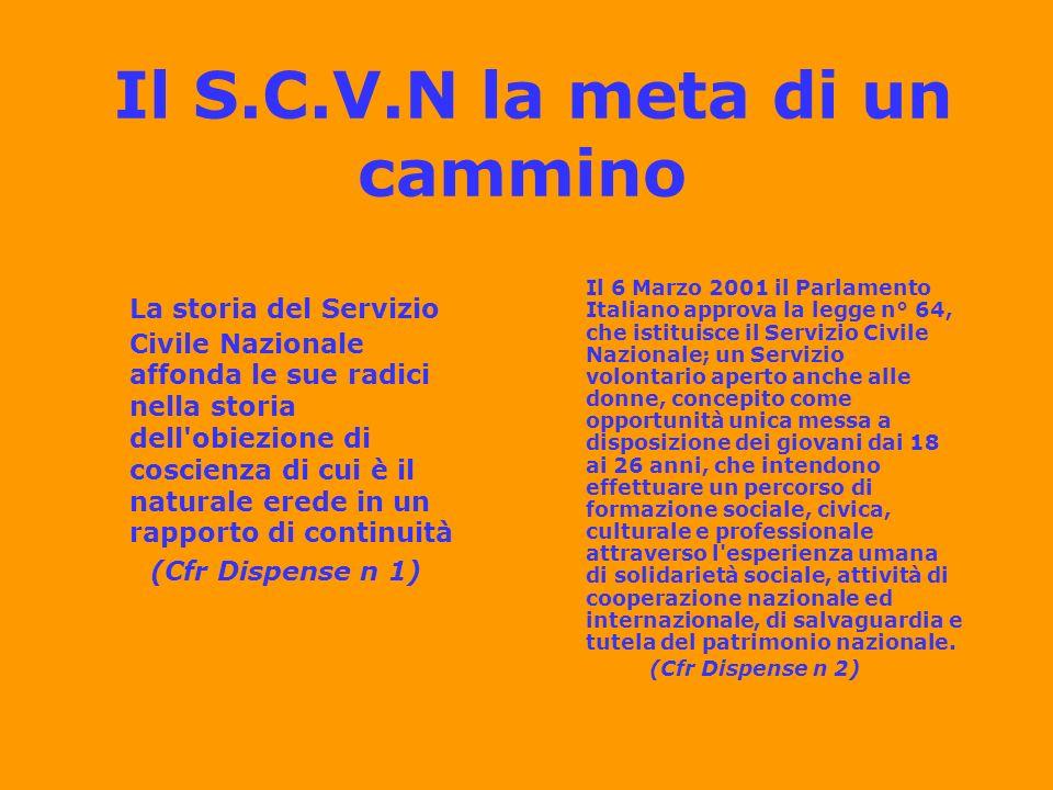 Il SCV ATTUALMENTE SI ARTICOLA: In servizio civile nazionale In servizio civile regionale –anche per cittadini stranieri