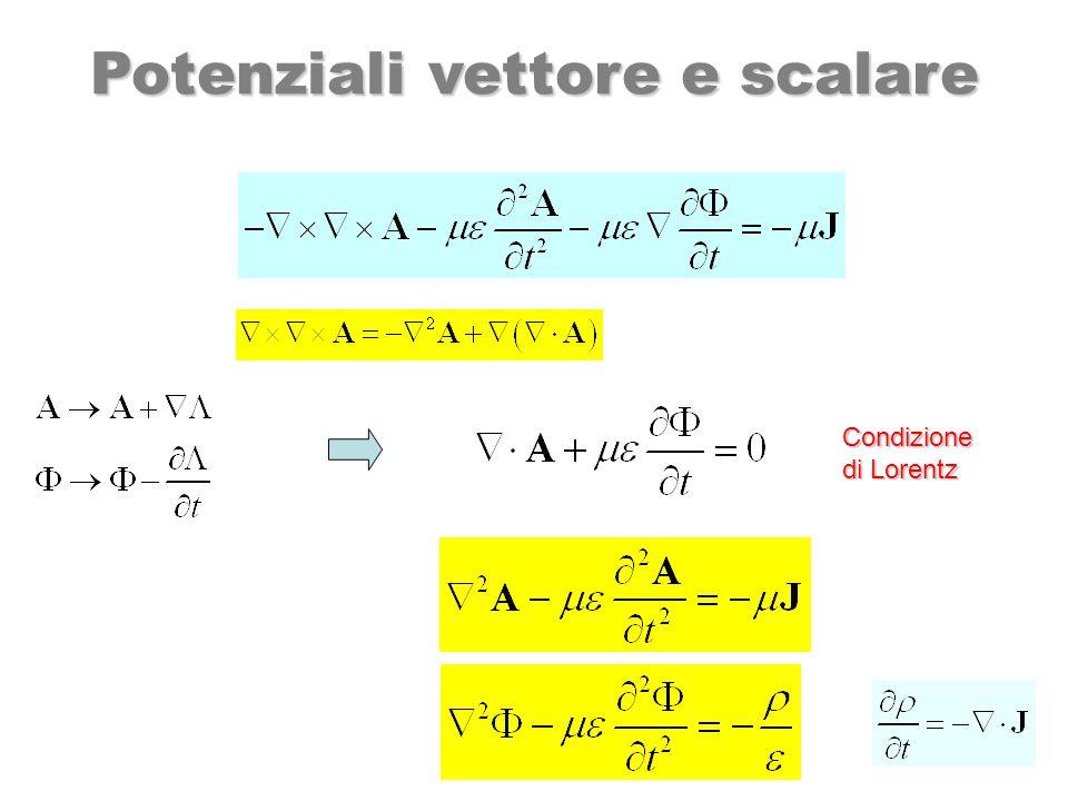 In mezzi omogenei e isotropi: Condizione di Lorentz Potenziali vettore e scalare campi armonici