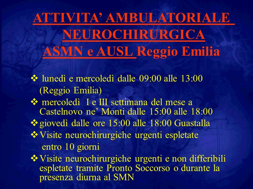 Presenza dei neurochirurghi allo Ospedale SMN di Reggio Emilia Tutti i giorni presenza di due neurochirurghi dalle ore 08:00 alle ore 18:00 Sabato mattina dalle ore 09:00 alle 12:00 Dalle 18:00 alle 20:00 è attiva la reperibilità se non sussiste la presenza in ospedale Dalle ore 20:00 alle ore 08:00 reperibilità notturna (sia per lattività chirurgica che per i casi interni) Reperibilità del week-end dalle ore 12:00 del sabato alle ore 08:00 del lunedì mattina Attività assicurata dalla equipe di Parma ma indipendente e autonoma rispetto al Maggiore di Parma