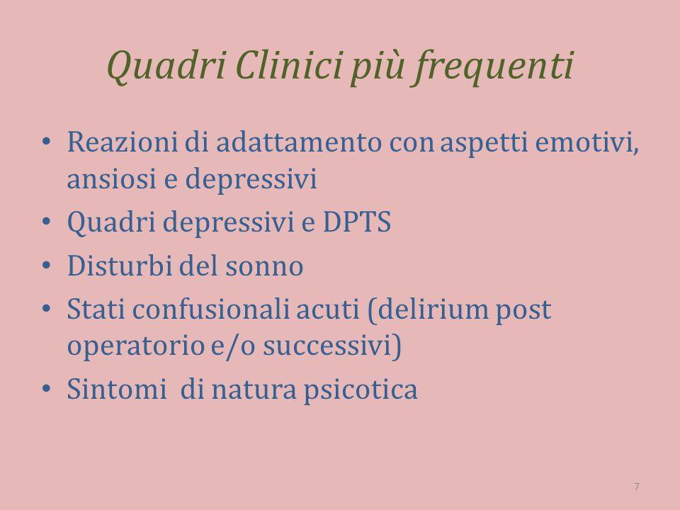 Psicofarmaci più utilizzati in oncologia Ansiolitici Induttori del sonno Antidepressivi Antipsicotici Modulatori del tono dellumore 8