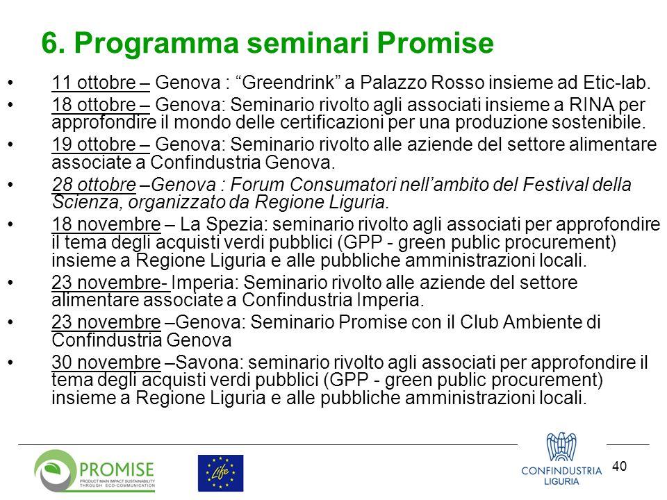 41 Dicembre-Genova: evento conclusivo con Assessori Ambiente e Attività produttive, dove sarà possibile dar conto delle opportunità ed i vincoli riscontrati per la crescita del mercato verde sul nostro territorio 6.