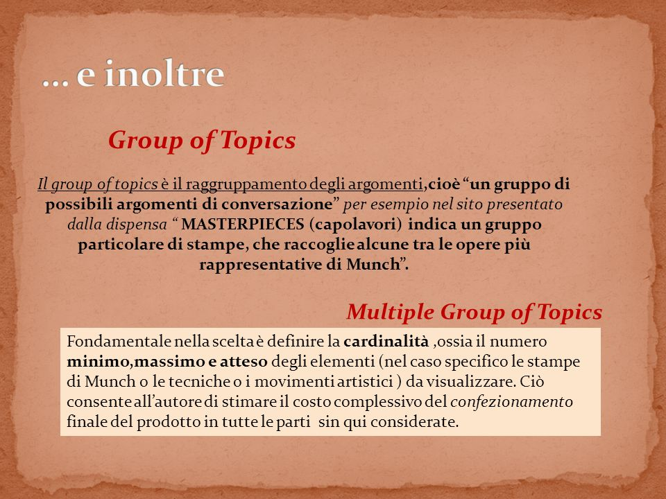 Relevant Semantic Relation Si riferisce al cambio di argomento che permette di passare da un topic allaltro,attraverso una relazione di significato oltre che di contenuto sostanziale.