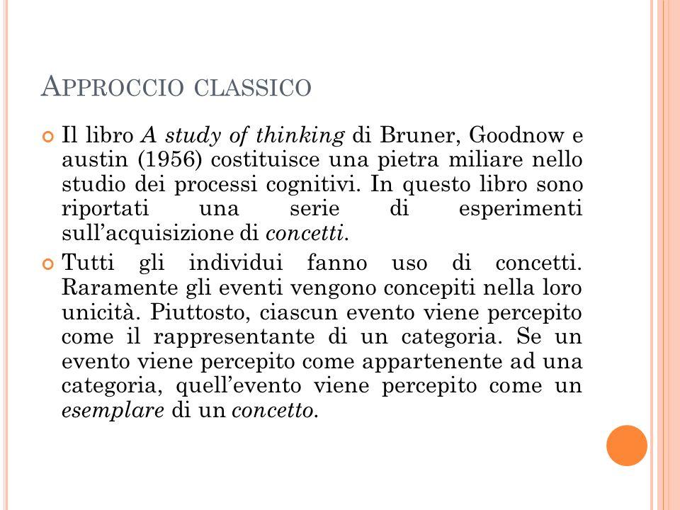 A PPROCCIO CLASSICO Il libro di Bruner et al.si occupa della relazione tra attributi e concetti.