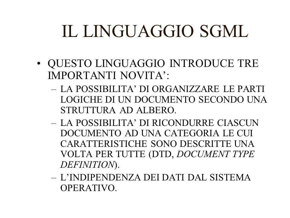 IL LINGUAGGIO HTML LO HYPERTEXT MARK UP LANGUAGE NASCE INDIPENDENTEMENTE DALLO SGML MA NE ADOTTA IN SEGUITO GLI STANDARD.